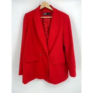 Zara Red Long Blazer